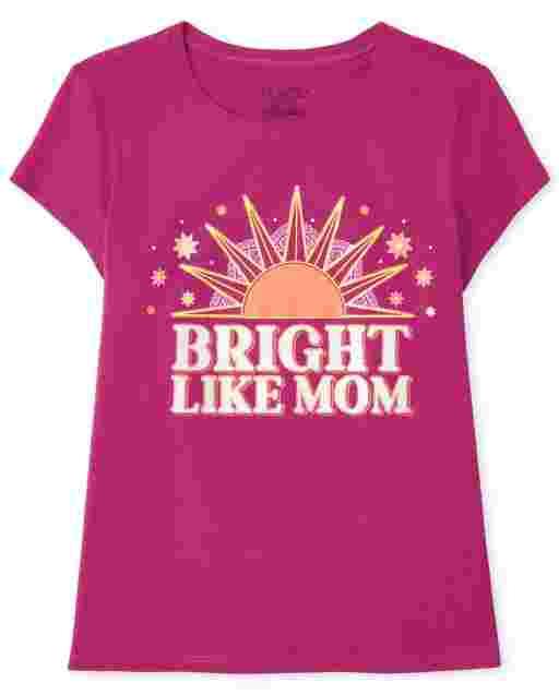 Girls Short Sleeve 'Bright Like Mom' Graphic Tee