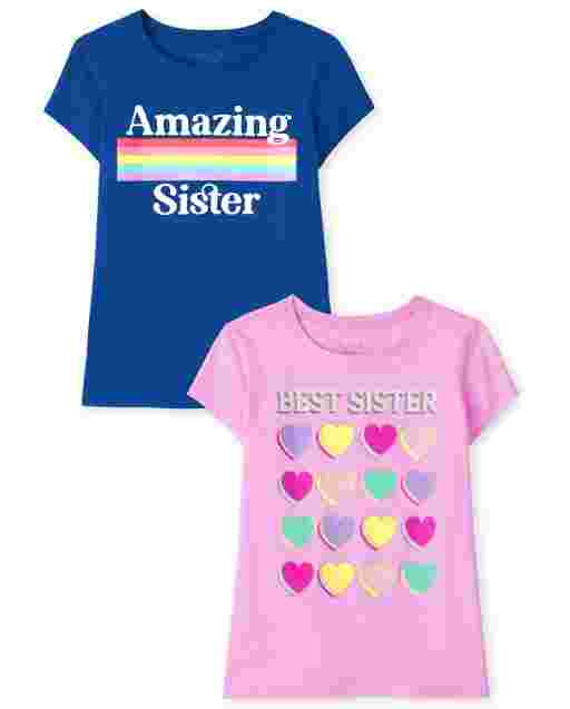 Girls Short Sleeve Sister Graphic Tee 2-Pack