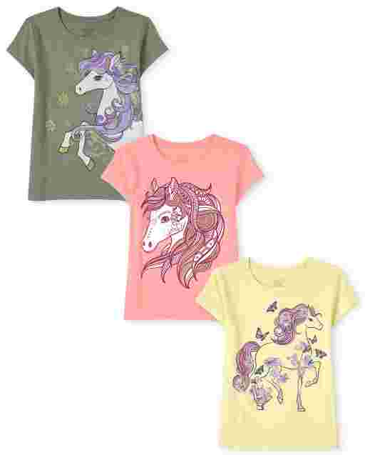 Girls Short Sleeve Horse Graphic Tee 3-Pack