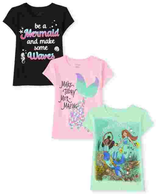 Pack de 3 camisetas estampadas de sirena de manga corta para niñas