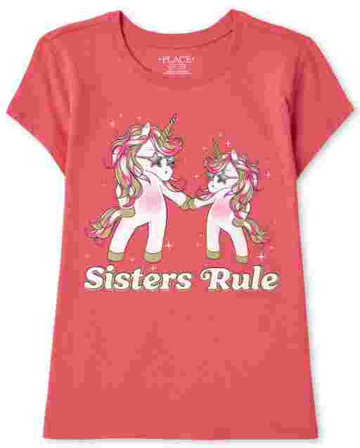 Girls Short Sleeve 'Sisters Rule' Unicorn Graphic Tee