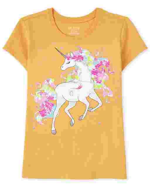Girls Short Sleeve Unicorn Graphic Tee