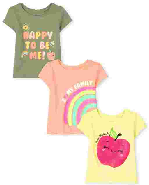 Baby And Toddler Girls Short Sleeve Family Graphic Tee 3-Pack