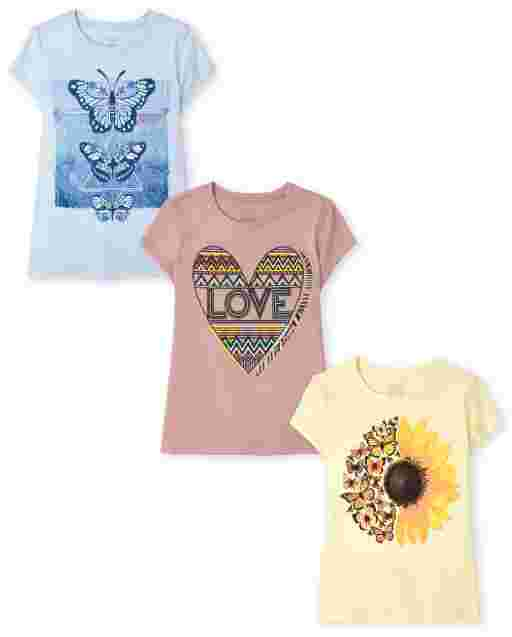 Girls Short Sleeve Trend Graphic Tee 3-Pack