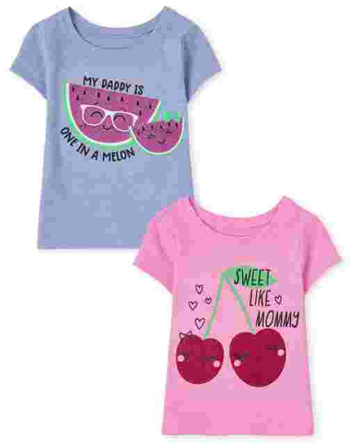 Baby And Toddler Girls Short Sleeve Fruit Graphic Tee 2-Pack
