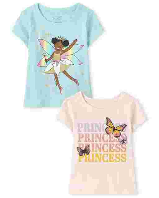 Baby And Toddler Girls Short Sleeve Princess Graphic Tee 2-Pack