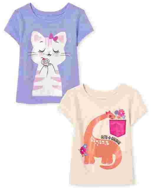 Baby And Toddler Girls Short Sleeve Animals Graphic Tee 2-Pack