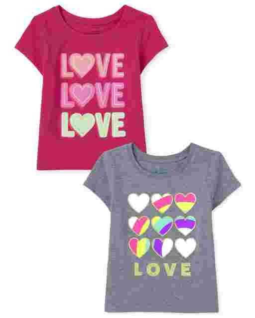 Baby And Toddler Girls Short Sleeve 'Love' Graphic Tee 2-Pack