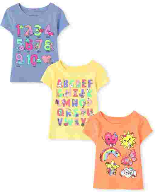 Baby And Toddler Girls Short Sleeve Education Graphic Tee 3-Pack
