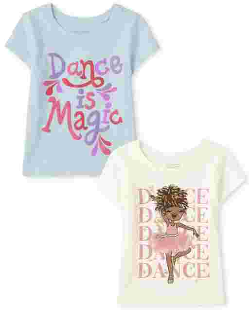 Baby And Toddler Girls Short Sleeve Dance Graphic Tee 2-Pack