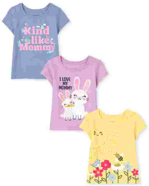 Baby And Toddler Girls Short Sleeve Mommy Graphic Tee 3-Pack