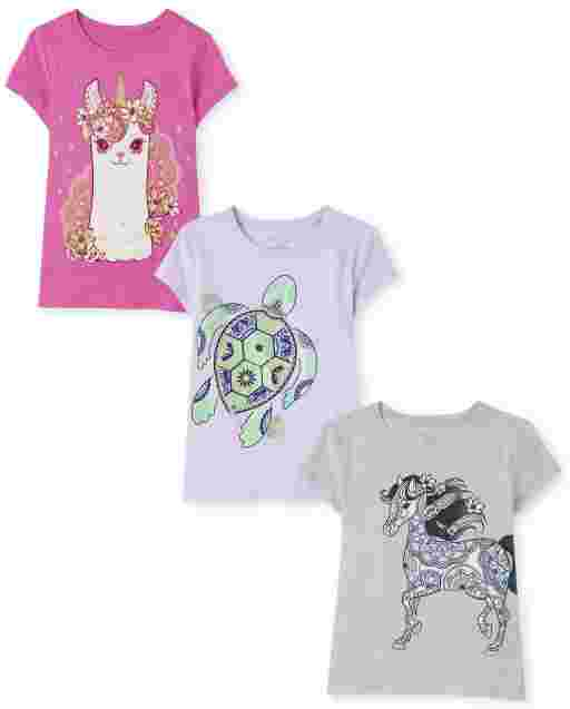 Girls Short Sleeve Animals Graphic Tee 3-Pack