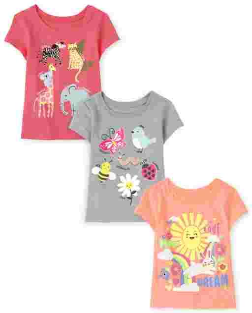 Paquete de 3 camisetas con estampado de animales de manga corta para bebés y niñas pequeñas