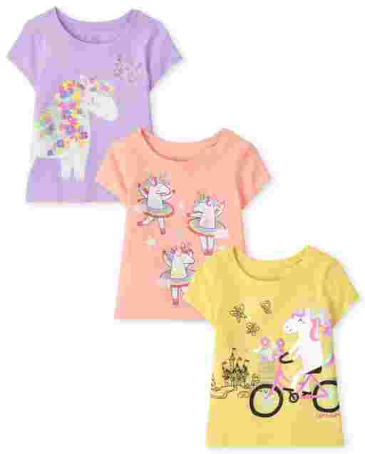 Baby And Toddler Girls Short Sleeve Unicorn Graphic Tee 3-Pack