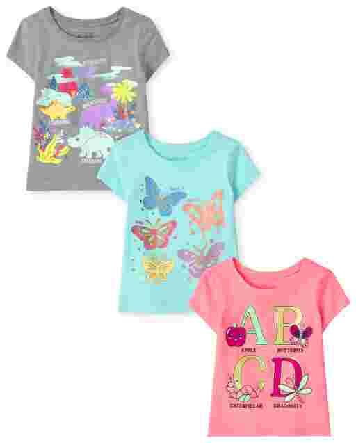 Paquete de 3 camisetas con gráfico Trend de manga corta para bebés y niñas pequeñas