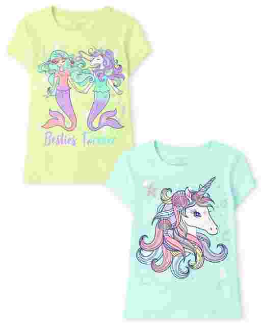 Girls Short Sleeve Magical Besties Graphic Tee 2-Pack