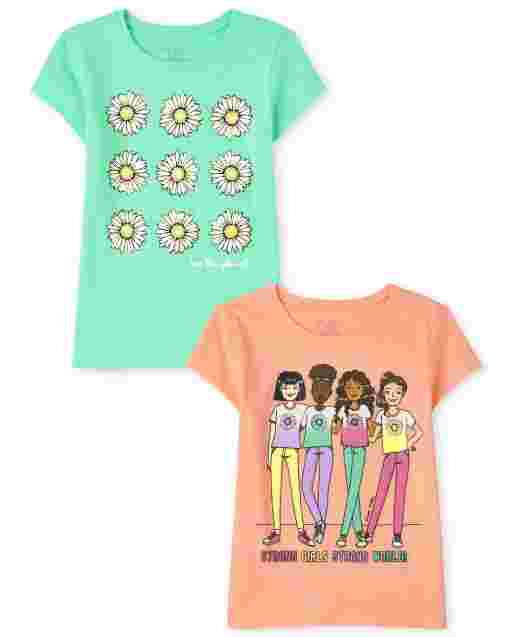 Girls Short Sleeve Flower Squad Graphic Tee 2-Pack