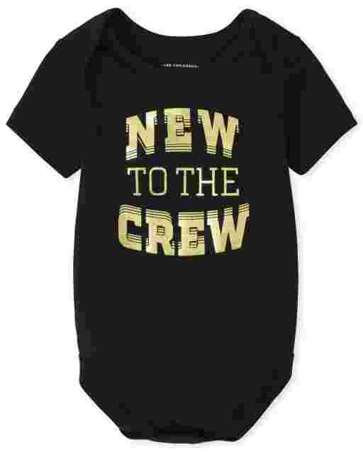 Unisex Baby Matching Family Short Sleeve 'New To The Crew' Graphic Bodysuit