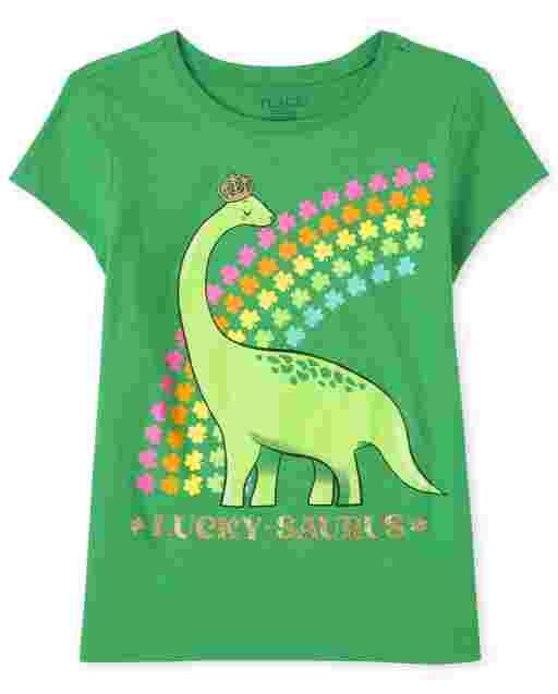 Girls St. Patrick's Day Short Sleeve Dino Graphic Tee
