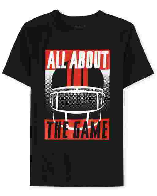 Boys Short Sleeve 'All About The Game' Football Graphic Tee