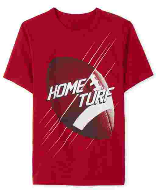 Boys Short Sleeve 'Home Turf' Football Graphic Tee