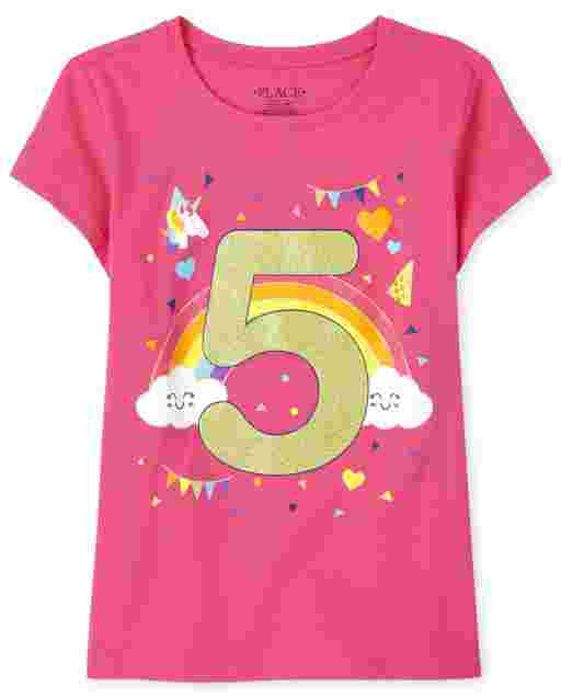 Girls Short Sleeve Birthday Glitter '5' Graphic Tee