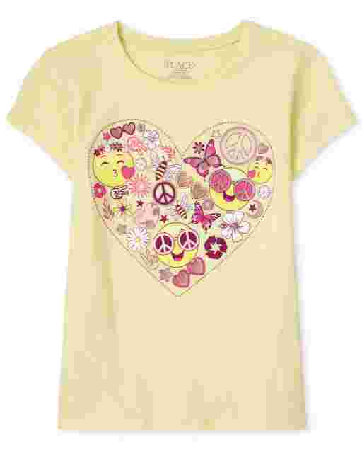 Girls Short Sleeve Emoji Heart Graphic Tee