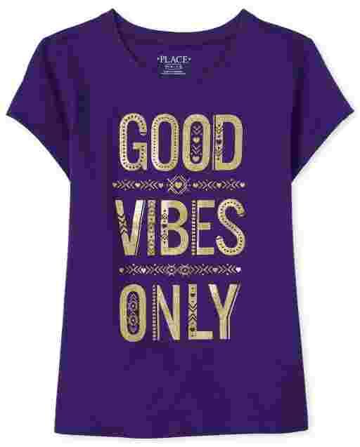 Camiseta de manga corta para niñas ' Good Vibes Only '