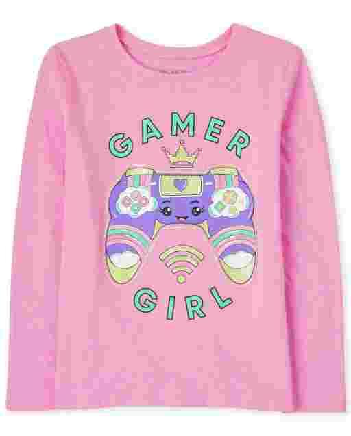 Camiseta estampada ' Gamer Girl ' manga larga para niñas