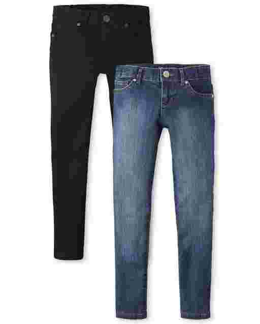 Girls Basic Super Skinny Jeans 2-Pack