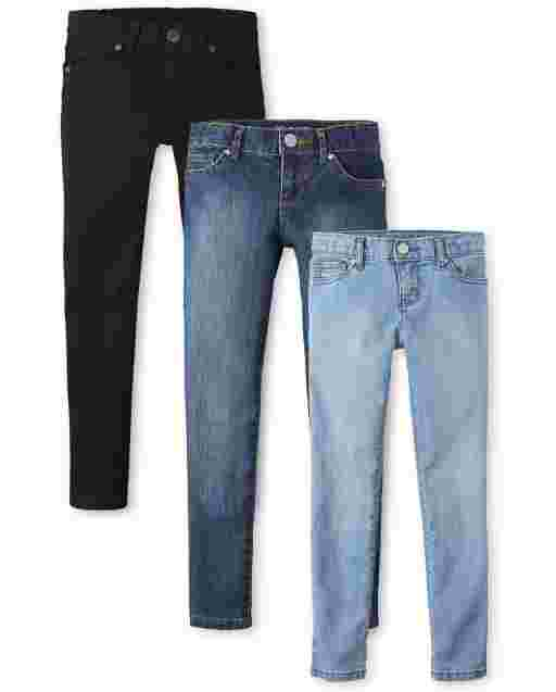 Girls Basic Super Skinny Jeans 3-Pack