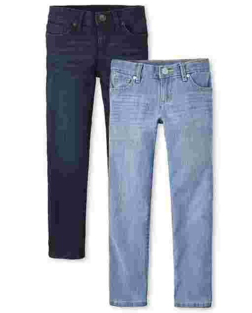 Paquete de 2 jeans ajustados básicos para niñas