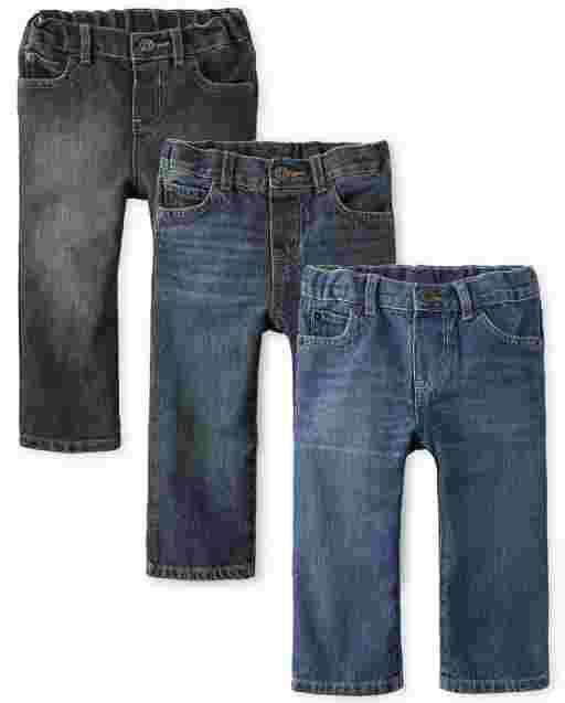 Paquete de 3 jeans rectos básicos para bebés y niños pequeños