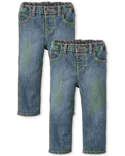 Paquete de 2 jeans con corte de bota básico para bebés y niños pequeños