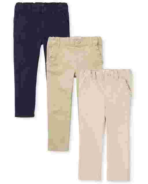 Toddler Girls Uniform Woven Skinny Chino Pants 3-Pack
