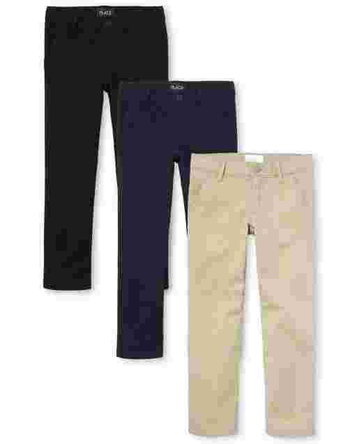 Girls Uniform Woven Skinny Chino Pants 3-Pack