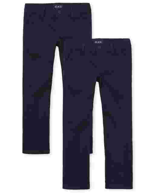 Girls Uniform Woven Bootcut Chino Pants 2-Pack