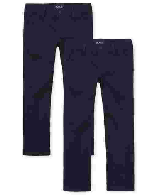 Girls Uniform Woven Bootcut Chino Pants 2-Pack