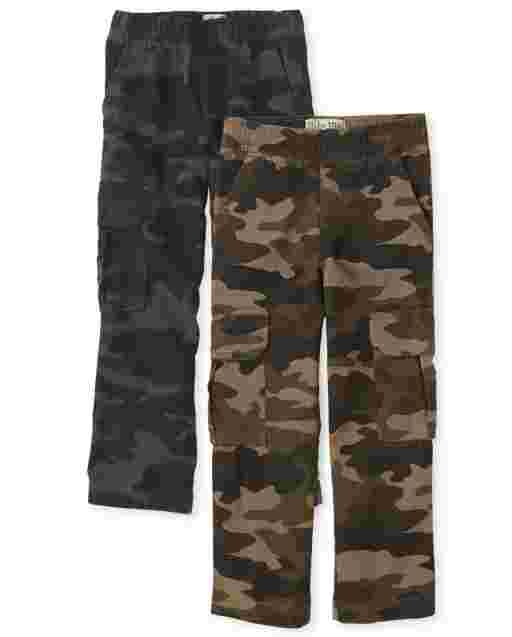 Boys Uniform Woven Pull On Cargo Pants 2-Pack