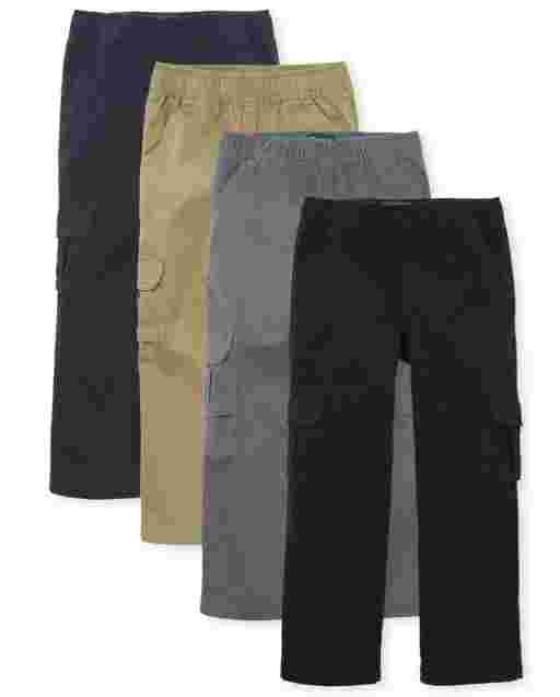 Boys Uniform Woven Pull On Cargo Pants 4-Pack