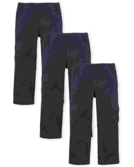 Boys Uniform Woven Pull On Chino Cargo Pants 3-Pack