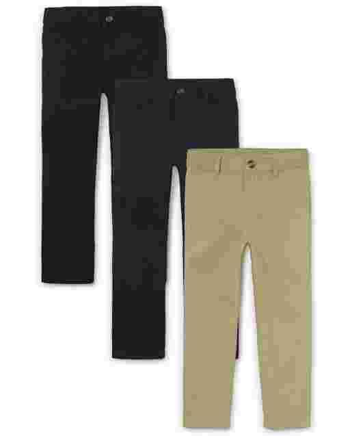 Boys Uniform Woven Chino Pants 3-Pack