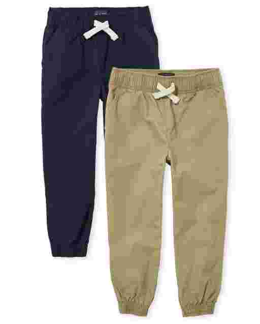 Boys Uniform Woven Pull On Jogger Pants 2-Pack