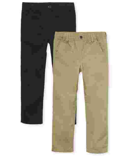 Boys Uniform Woven Pull On Chino Pants 2-Pack