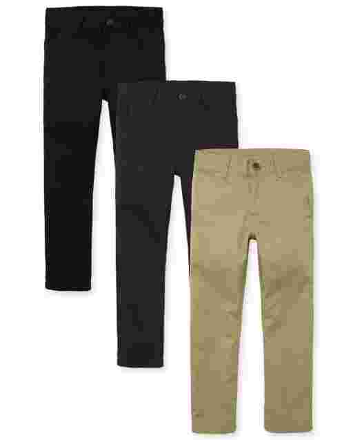 Boys Uniform Skinny Woven Chino Pants 3-Pack