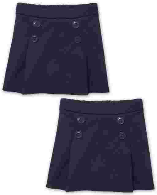 Toddler Girls Uniform Ponte Knit Button Skort 2-Pack