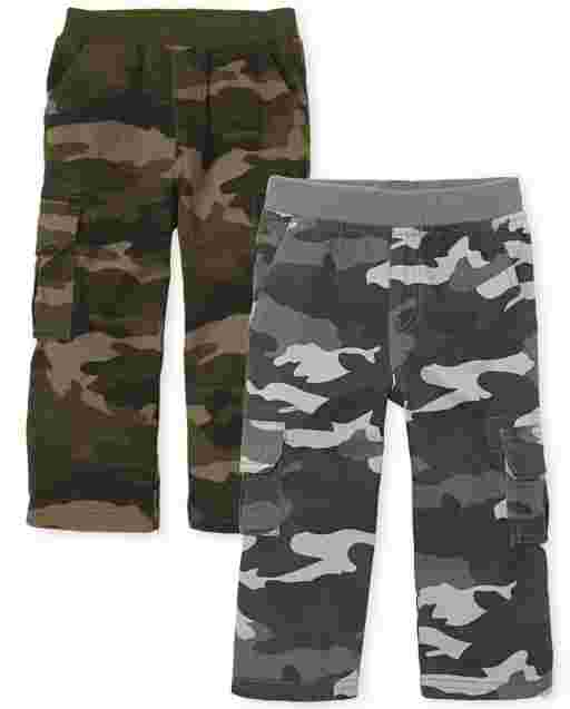 Toddler Boys Woven Pull On Chino Cargo Pants 2-Pack