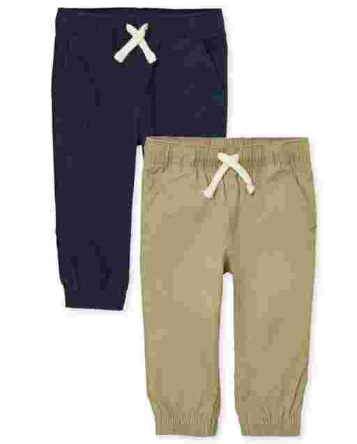 Baby And Toddler Boys Uniform Woven Pull On Jogger Pants 2-Pack