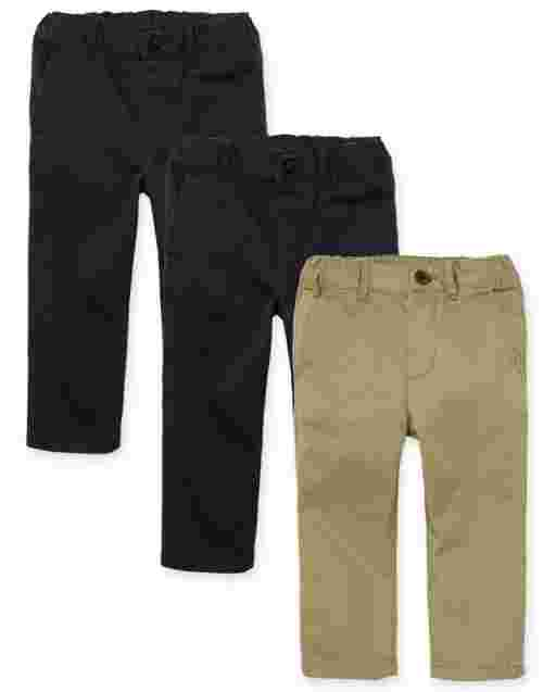 Baby And Toddler Boys Woven Skinny Chino Pants 3-Pack