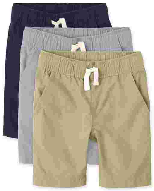 Boys Uniform Woven Pull On Jogger Shorts 3-Pack